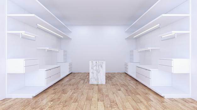 Moderner unbedeutender begehbarer kleiderschrank mit innenarchitektur der weißen garderobe
