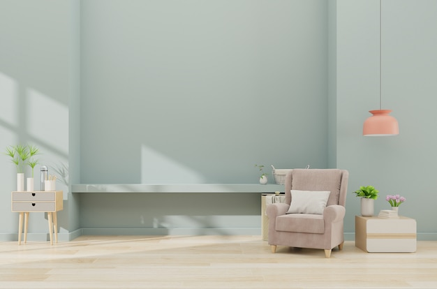 Moderner unbedeutender innenraum mit einem lehnsessel auf leerem blauem wandhintergrund
