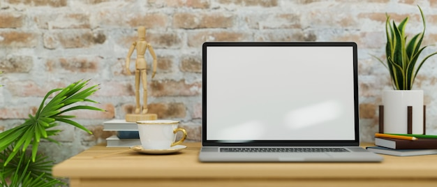 Moderner vintage-arbeitsplatz mit laptop-bildschirmmodell und dekor gegen backsteinwände 3d