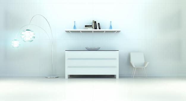Moderner weißer blauer innenraum mit kommode und wiedergabe des regals 3d