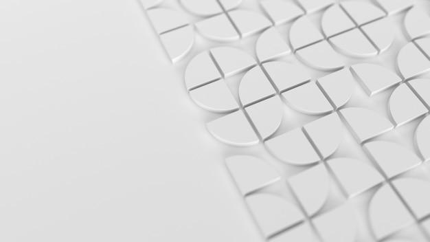 Moderner weißer hintergrund mit halbkreisförmigem 3d-elementmuster im schweizer stil