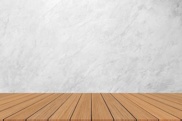 Moderner weißer marmorbeschaffenheitshintergrund mit holzfußboden für show, fördern, anzeigenfahne auf anzeige