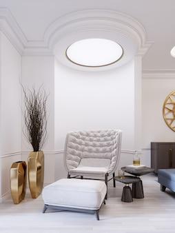 Moderner weißer modischer sessel mit fußstütze, niedrigem tisch mit dekor und einer goldenen vase mit trockenen zweigen. weißes modernes interieur mit deckenleuchten. 3d-rendering.