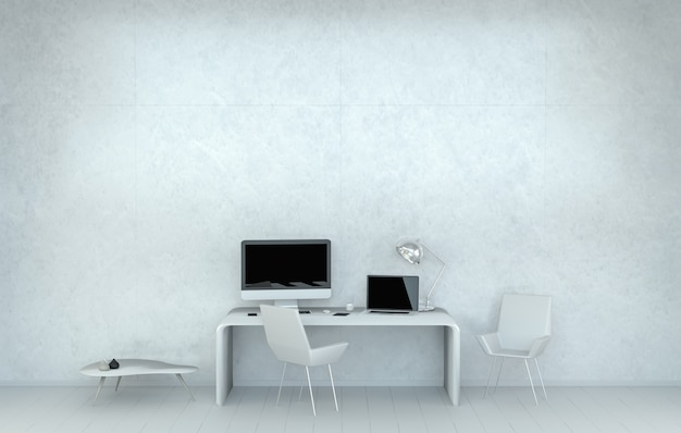 Moderner weißer schreibtischbüroinnenraum mit wiedergabe des computers und der geräte 3d
