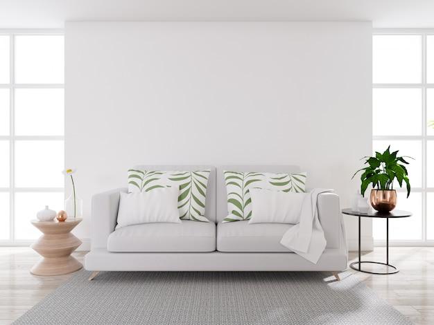 Moderner wohnzimmerinnenraum der mitte des jahrhunderts