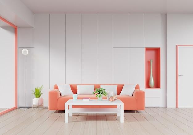 Moderner wohnzimmerinnenraum mit lebendem korallenrotem farbsofa und grünpflanzen
