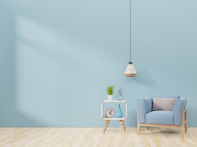 Moderner wohnzimmerinnenraum mit lehnsessel und grünpflanzen