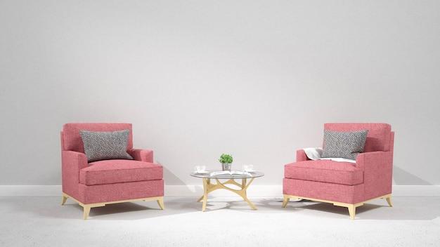 Moderner wohnzimmerinnenraum mit lehnsessel wiedergabe 3d