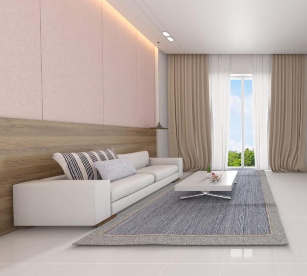 Moderner wohnzimmerinnenraum mit skandinavischen style-3d illustrationen