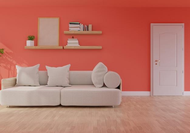 Moderner wohnzimmerinnenraum mit sofa auf lebender korallenroter farbe der wiedergabe 2019,3d des jahres