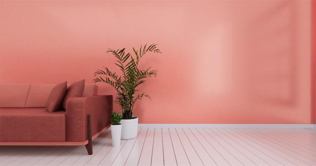 Moderner wohnzimmerinnenraum mit sofa und auf lebender koralle
