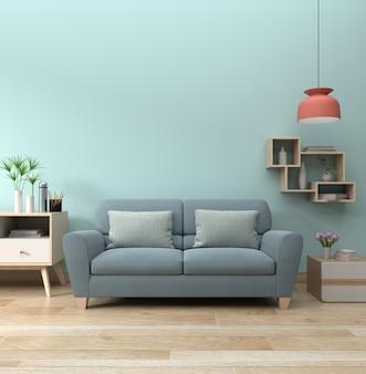 Moderner wohnzimmerinnenraum mit sofa und grünpflanzen, lampe auf blauem wandhintergrund.