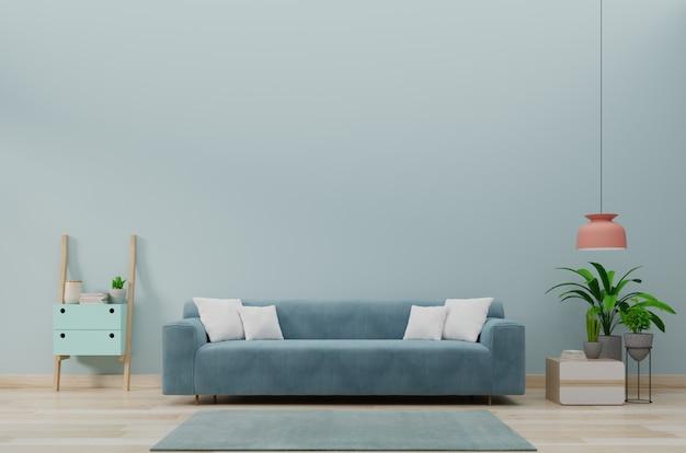 Moderner wohnzimmerinnenraum mit sofa und grünpflanzen, tabelle auf blauem wandhintergrund. 3d-rendering