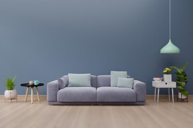 Moderner wohnzimmerinnenraum mit sofa und grünpflanzen, tabelle auf dunkelblauem wandhintergrund. 3d-rendering