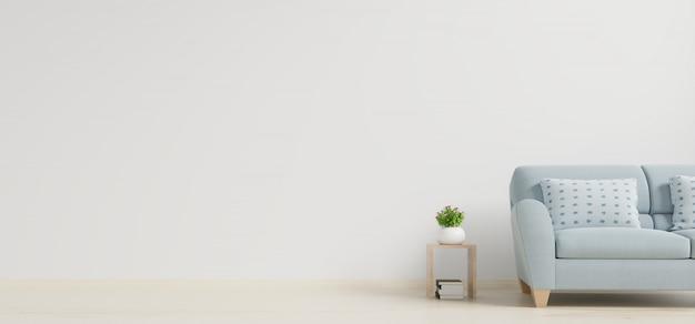 Moderner wohnzimmerinnenraum mit sofa und grünpflanzen, tabelle auf weißem wandhintergrund.