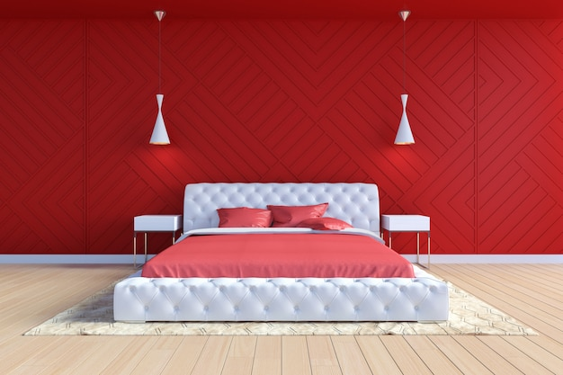 Moderner zeitgenössischer schlafzimmerinnenraum in der roten und weißen farbe, wiedergabe 3d