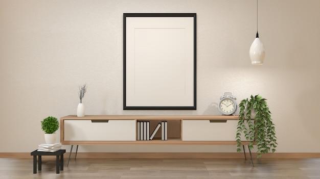 Moderner zeninnenraum des japanischen wohnzimmers mit wiedergabe des hölzernen kabinetts und des leeren plakat- oder fotorahmens 3d