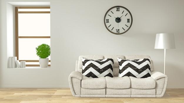 Moderner zenwohnzimmerinnenraum mit japanischer art des sofas und der grünpflanzen