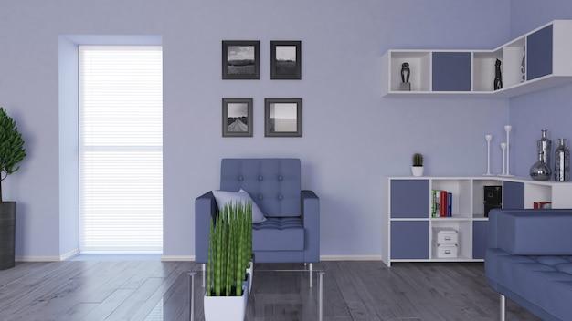 Modernes 3d-wohnzimmer interieur und moderne möbel