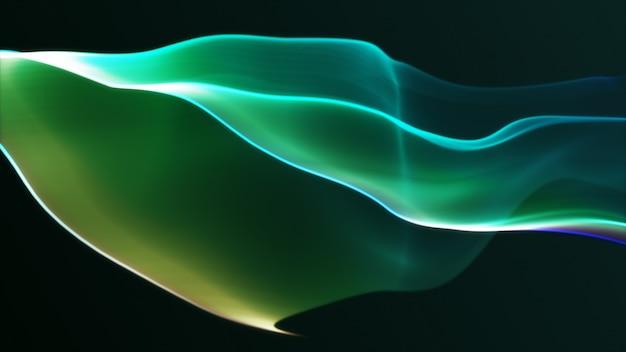 Modernes abstraktes bewegungsbanner auf dunkelgrünem hintergrund