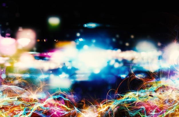 Modernes abstraktes buntes lichtbewegungsfahne auf dunklem hintergrund