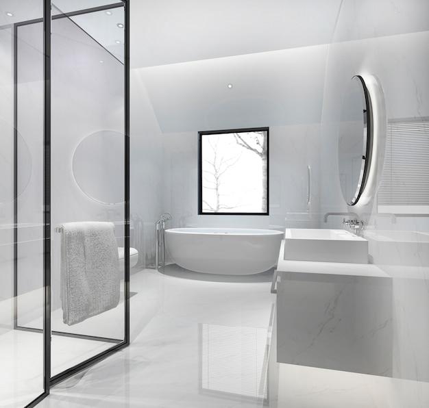 Modernes badezimmer der 3d-wiedergabe mit luxusfliesendekor