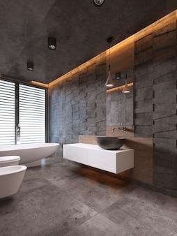 Modernes badezimmer in dunklen tönen mit deckenbeleuchtung. 3d-rendering