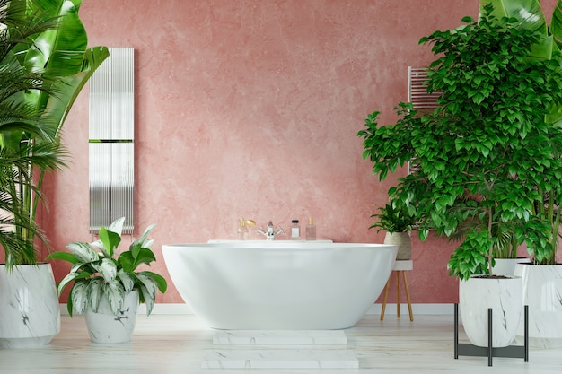 Modernes badezimmer-innendesign auf dunkelroter farbwand, 3d-rendering