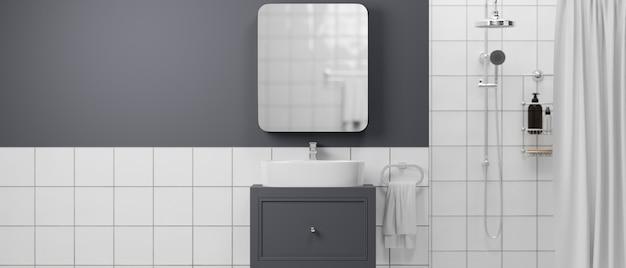 Modernes badezimmer-interieur mit duschbadewannen-schrank-spiegel-handtuch-shampoo-flaschen