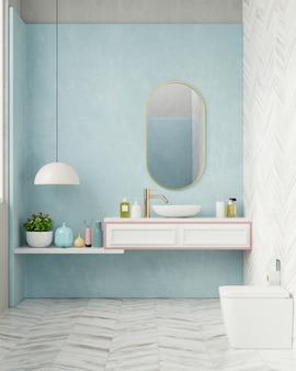 Modernes badezimmer mit blauer wand