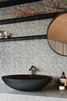 Modernes badezimmer mit grauen keramikfliesen und schwarzem waschbecken. 3d rendern