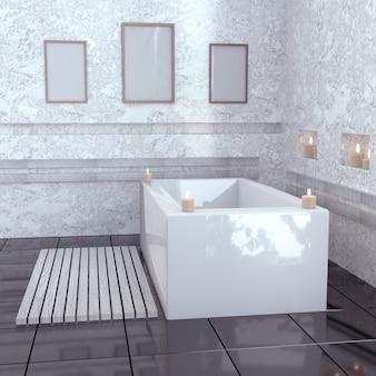 Modernes badezimmer mit keramikbad mit kerzen.