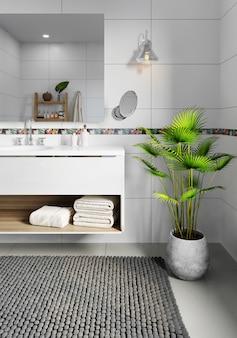 Modernes badezimmer mit weiß gefliesten wänden. schöne zimmerpflanze auf dem boden. 3d-rendering