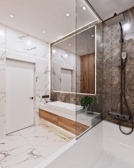 Modernes badezimmerdesign mit fliesen aus marmor und holz