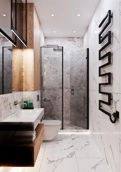 Modernes badezimmerdesign mit fliesen unter beton und marmor