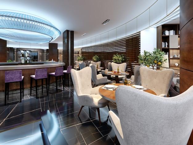 Modernes bar-restaurant im luxuriösen modernen stil mit eleganten möbeln und beleuchtung. 3d-rendering