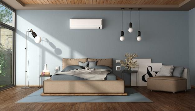 Modernes blaues und braunes hauptschlafzimmer
