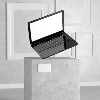 Modernes computer-laptop-notebook über sockel, bühne, podium oder säule in der kunstgalerie oder im museum auf weißem hintergrund. 3d-rendering