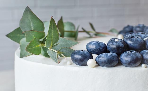 Modernes dekor auf der kuchen-nahaufnahme. blaubeeren und eukalyptus.