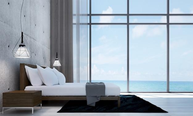 Modernes dekor und mock-up-rauminnenraum und leeres wohnzimmer und betonwandhintergrund