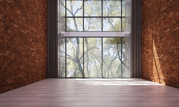 Modernes dekor und mock-up-rauminnenraum und leeres wohnzimmer und roter backsteinmauerhintergrund