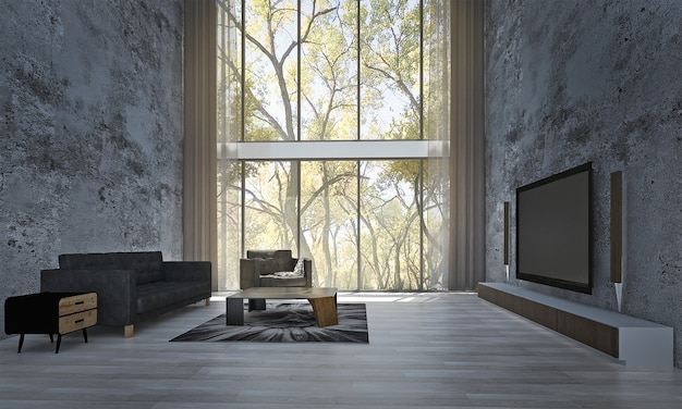 Modernes dekor und mock-up-rauminnenraum und wohnzimmer und wandhintergrund und tv-ständer