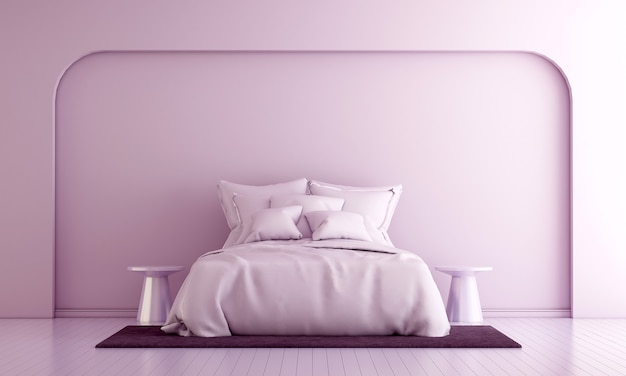 Modernes dekor und schlafzimmerinterieur und möbel verspotten und rosa wandbeschaffenheitshintergrund