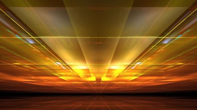 Modernes digitales 3d-gebäude der stadt der zukunft, hell leuchtende fenster, reflexionen an der wand. 3d-rendering
