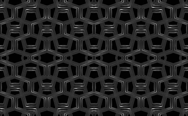 Modernes dunkles metall-sechseckform-maschennetz mit beschneidungspfad