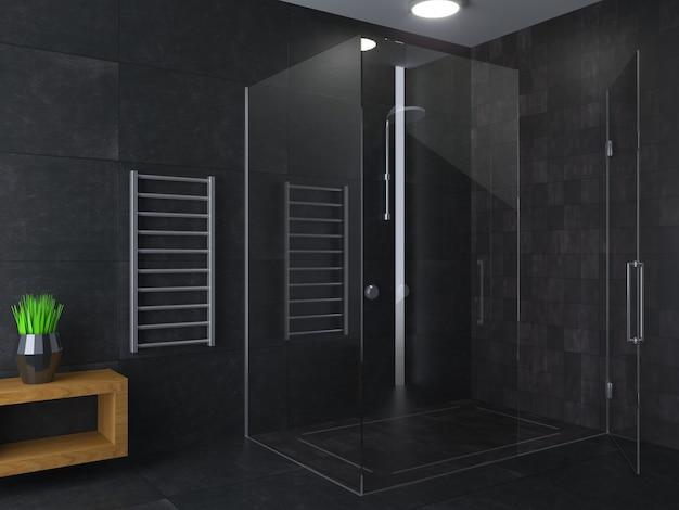Modernes duschbad aus dunklem glas