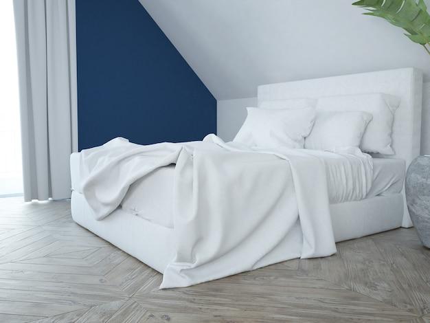 Modernes, elegantes, luxuriöses schlafzimmer in weiß und blau