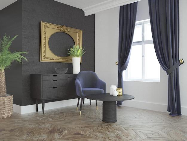 Modernes elegantes wohnzimmer mit sofa couchtisch fenstervorhang