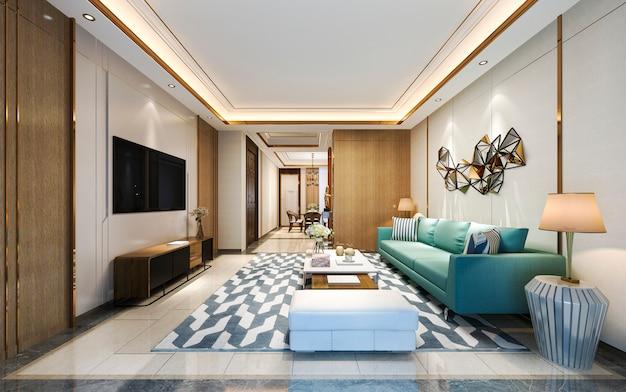 Modernes esszimmer und wohnzimmer der 3d-darstellung mit luxusdekor und grünem sofa
