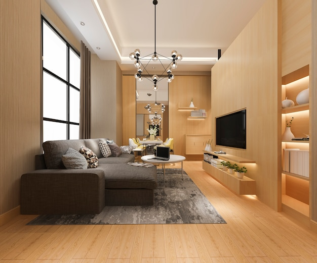 Modernes esszimmer und wohnzimmer mit luxuriösem dekor